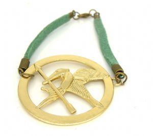 The Hunger Games Inspired Mockingjay Bracelet Pretty retro gold bird
